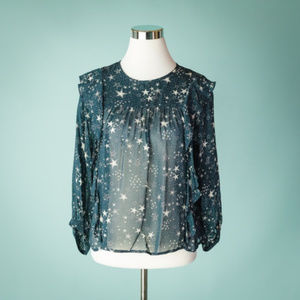 Velvet by Graham & Spencer XS Navy Blue Star Top